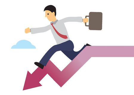 Businessman running down the down arrow. Concept of recession or stock economy crash. Flat vector illustration.