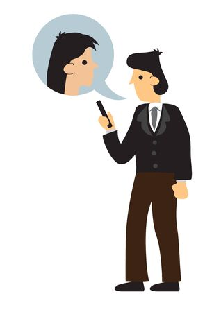 Man in formal outfit having a online conversation with his female colleague. Concept of business conversation. Flat isolated vector illustration.