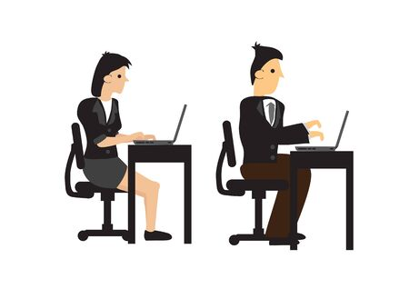VIsual of businessman and woman working on their desks with their computer. Concept of teamwork or corporate lifestyle. Isolated vector illustration.