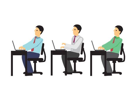 A group of three business people working in their desk in the office. Concept of teamwork or corporate life. Isolated vector illustration.