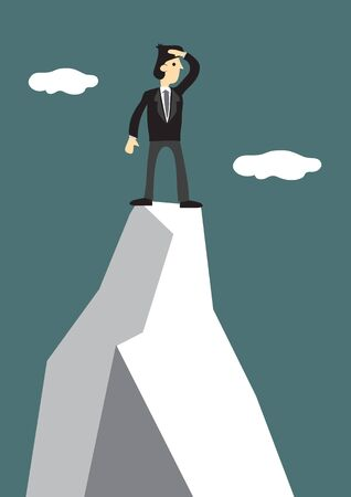 Businessman climb to the top of the mountain to look for a new target. Concept of leadership and challenge of corporate world.Vector illustration.