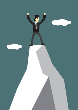 Businessman climb to the top of the mountain. Concept of leadership and challenge of corporate world. Vector illustration.