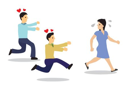 Attractive woman chased by guys. Concept of harassment or flirting. Flat isolated vector illustration.