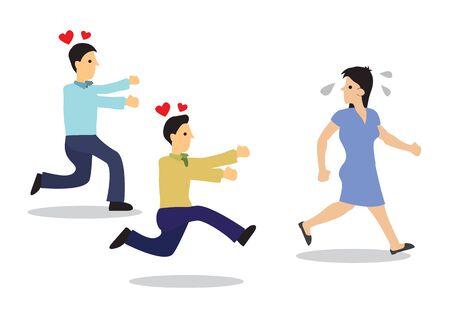 Mujer atractiva perseguida por chicos. Concepto de acoso o coqueteo. Ilustración de vector plano aislado.