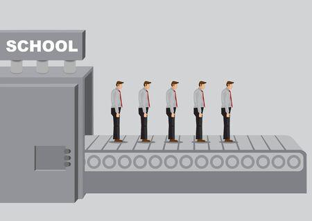 学校の質量というタイトルの製造機械は、同様の鈍い人々の製品を生成します。教育システム概念の欠陥に関するベクトルイラスト。