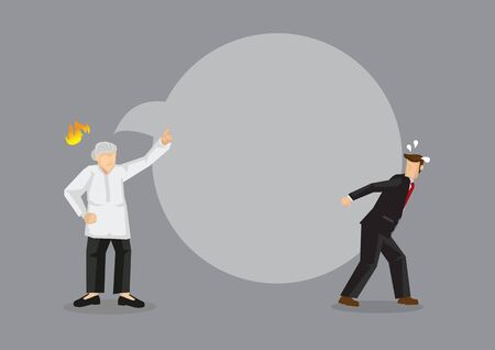 Cartoon man carrying the burden of a huge heavy speech balloon from angry old woman on his back. Creative vector illustration on weight of angry and hurtful words metaphor.