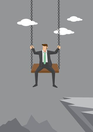 Business executive sitting on a swing over cliff of high mountains. Cartoon vector illustration of concept on being gutsy and audacious in business isolated on grey background.
