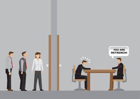 Geschäftsleute, die außerhalb des Büros warten. Im Inneren des Büros informiert der Manager den Mitarbeiter über Neuigkeiten zur Entlassung. Cartoon-Vektor-Illustration zur Umstrukturierung des Unternehmens. Vektorgrafik