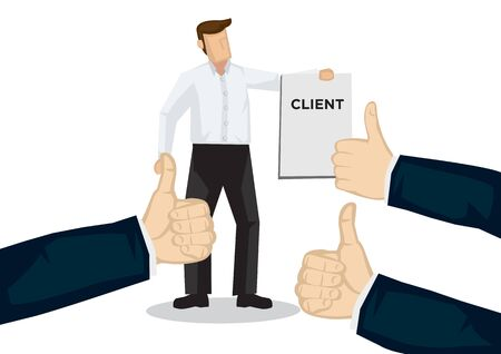 Un homme d'affaires reçoit des éloges pour avoir amené le client à l'entreprise. Concept de travail d'équipe, de reconnaissance ou d'appréciation. Illustration vectorielle plat isolé.