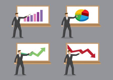 Set of four vector illustrations with businessman standing in front of chart for business presentation isolated on grey background. Ilustrace