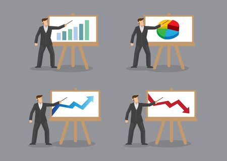 Set of four vector cartoon illustration of businessman standing in front of white board and pointing to graph and charts isolated on grey background.