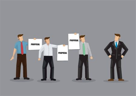 A group of employees presenting proposals to manager. Cartoon vector illustration on business and proposal presentation concept isolated on grey background. Иллюстрация