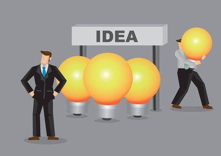 Business professional of unaware of his lightbulb being stolen behind his back. Creative cartoon vector illustration for metaphor for intellectual property as business assets.