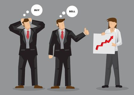Two businessmen looking at same chart arrive at different investment decision to buy and sell. Cartoon vector illustration on different perspective of the same thing concept. Vectores