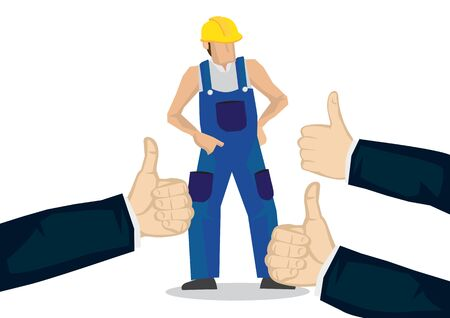 Worker getting praises for doing a good job. Concept of hardwork, recognition or appreciation. Flat isolated vector illustration. Vettoriali