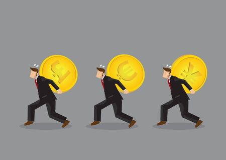 Set of three vector illustrations of cartoon businessman character carrying huge heavy gold coin with different currency symbols on his back.