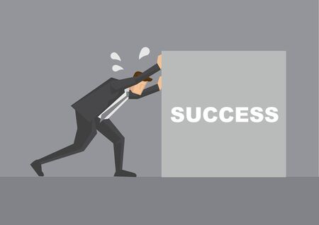 Side view of business professional pushing hard on a block with text success on it. Creative vector illustration for metaphor for business concept. Stock fotó - 133091348