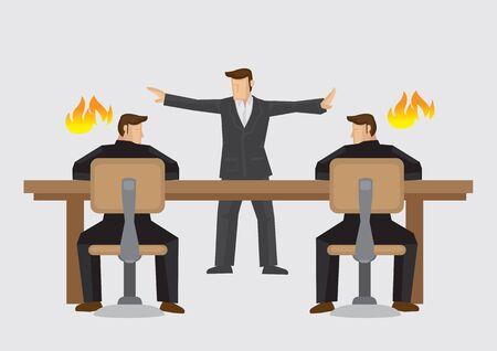 Mediador tratando de resolver empresarios estancados en un acalorado debate. Ilustración de vector de mediador empresarial o concepto de resolución de disputas aislado sobre fondo liso.