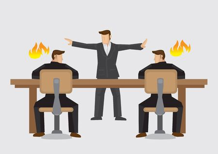 Mediatore che cerca di risolvere gli uomini d'affari in stallo in un aspro dibattito. Illustrazione vettoriale su mediatore aziendale o concetto di risoluzione delle controversie isolato su sfondo chiaro.