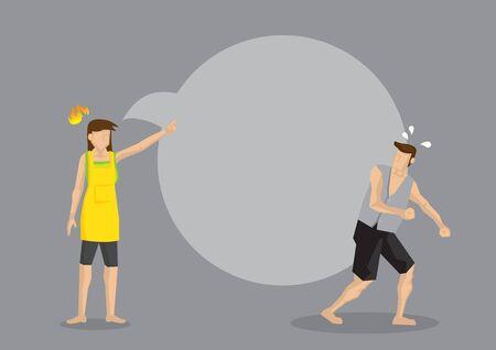 Esposa enojada con marido de regaño de globo de discurso en blanco. Ilustración de vector de dibujos animados creativos para problemas domésticos y peleas entre cónyuges. Ilustración de vector