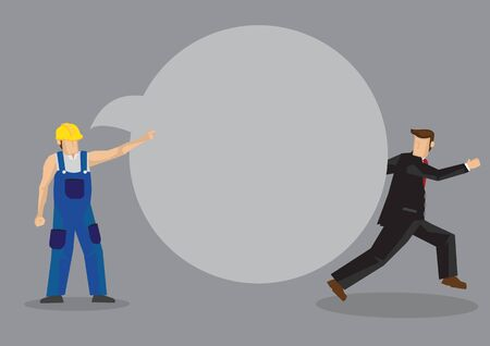 Worker in yellow hard hat and blue overall pointing away and businessman in suit running away. Creative vector illustration with speech balloon for copy space. Vectores