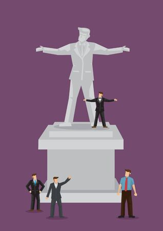 A group of businessmen standing in front of a colossal businessman statue. Cartoon vector illustration isolated on plain purple background.