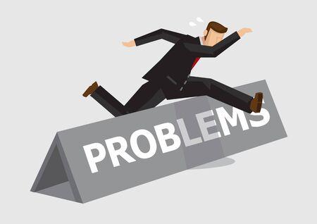 L'homme d'affaires saute et saute par-dessus l'obstacle avec des problèmes de mot dessus. Illustration vectorielle créative sur la métaphore pour surmonter les défis et l'adversité au travail isolé sur fond uni.