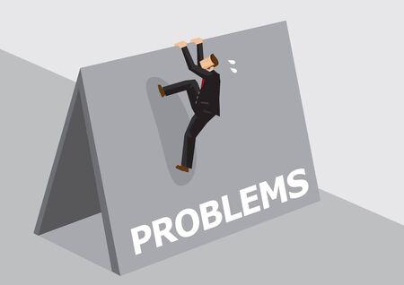 Uomo d'affari del fumetto che prova a scavalcare l'alto muro con problemi di testo. Illustrazione vettoriale sul superamento di problemi impegnativi e avversità nel concetto di affari isolato su sfondo chiaro.