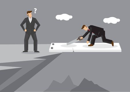 Businessman on jumping board on mountain cliff use a saw to cut the board and put himself in dangerous position. Vector cartoon illustration on foolish action to self-sabotage concept. 向量圖像