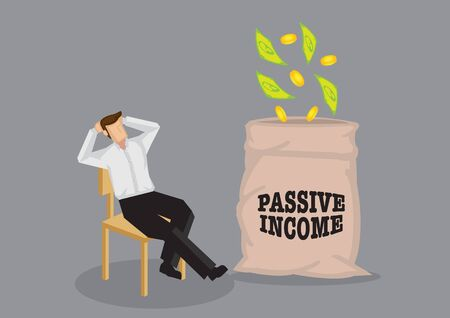 Cartoon man sitting in a relaxed manner enjoying money falling into his bag. Vector illustration on passive income concept.