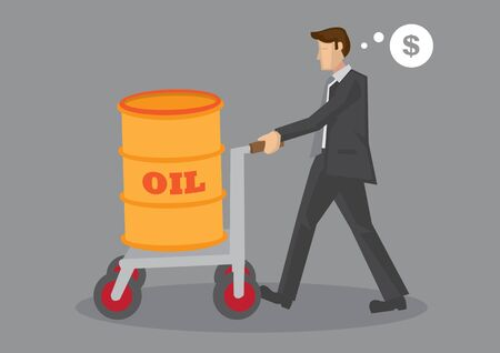 Cartoon businessman pushing a barrel of oil on wheeled cart and thinking about money. Vector business illustration on oil industry business. Vectores