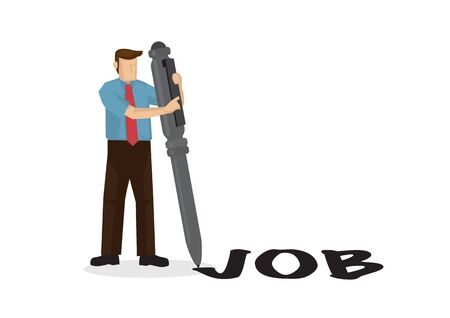 Businessman writes job word with his giant pen. Concept of recruitment or job hunting. Flat isolated vector illustration. Ilustracja