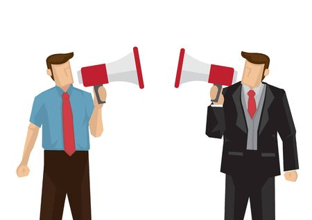 Two businessman with megaphone shouting at each other. Concept of office politics or competition. Flat isolated vector illustration. Illusztráció