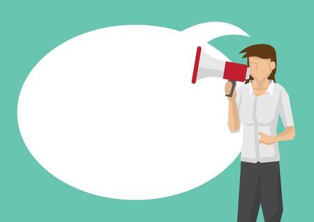 Businesswoman with a megaphone. Concept of sales, consumerism or marketing. Flat isolated vector illustration. Ilustração