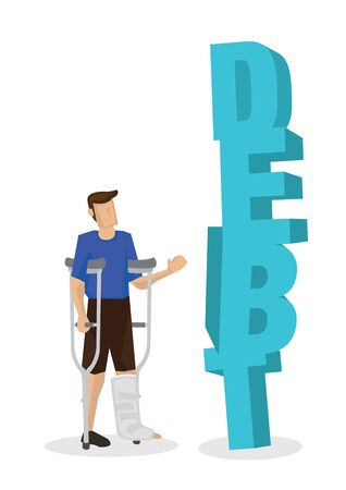 Injured young man with a giant debt. Concept of medical bill or in debt. Flat isolated vector illustration
