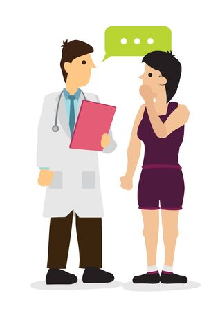 Doctor talking with his patient or patient relative in a hospital. Concept of healthcare system or medical occupation. Flat isolated vector illustration.