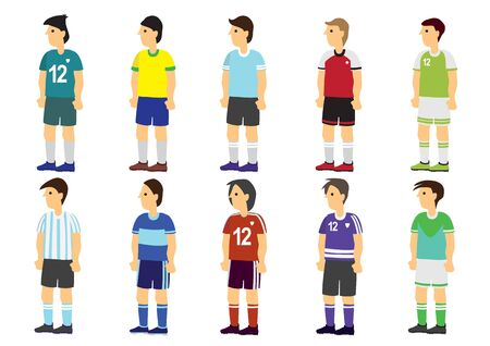 Collection of footballer or soccer player in different jerseyoutfit. Concept of sport fashion and design. Isolated vector illustration Illusztráció