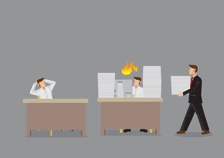 Cartoon-Mann, der mit Arbeit und Manager überlastet ist, bringt ihm mehr zu tun, während der Mitarbeiter im Leerlauf sitzt. Vektorkarikaturillustration für Ungerechtigkeit am Arbeitskonzept lokalisiert auf grauem Hintergrund.
