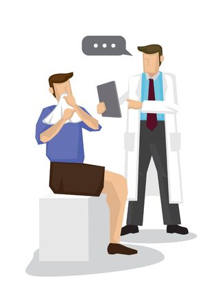 Doctor giving advise his patient having a flu. Concept of healthcare and medicare. Flat isolated cartoon vector illustration.  イラスト・ベクター素材