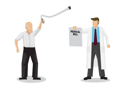 Doctor demands for medical bill from an old elderly man. Concept of healthcare and medicare. Flat isolated cartoon vector illustration.