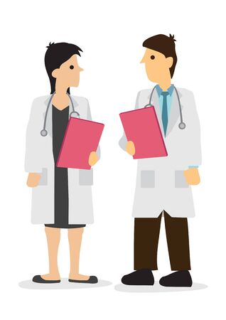 Doctor talking with his colleagues in a hospital. Concept of healthcare system or medical occupation. Flat isolated vector illustration.  イラスト・ベクター素材