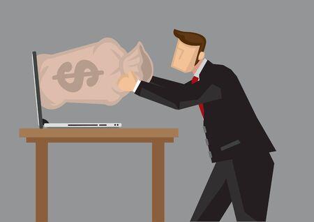 Businessman getting money out of laptop computer. Creative cartoon vector illustration for metaphor on earning money online. Ilustracje wektorowe