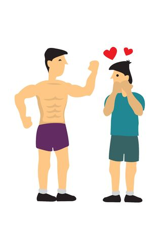 Man looking at another man body. Concept of love and LGBT. Flat isolated vector cartoon illustration.
