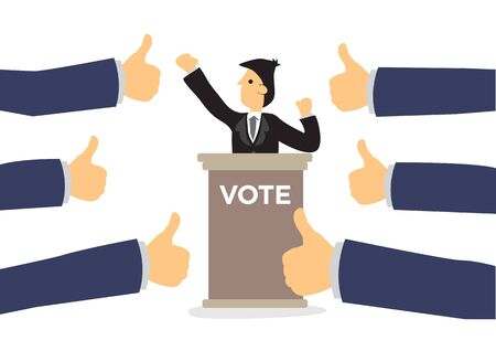 Politics candidate getting praises for presentation. Concept of politics communication, recognition or appreciation. Flat isolated vector illustration.