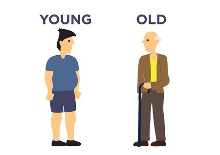 Male in two different age. Concept of aging. Flat cartoon isolated illustration.