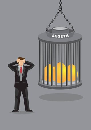 Cartoon businessman kept out of reach from golden eggs locked in cage. Creative vector illustration for metaphor on asset protection.
