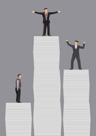 Business professionals standing on top of stacks of documents of different heights. Creative vector illustration on relationship between amount of job responsibilities and height in career concept.