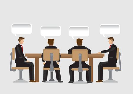 A group of businessman sitting at conference table and blank speech balloons with copy space above their heads. Vector cartoon illustration on business communication concept isolated on plain backgrou
