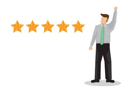 Excellence rating of businessman, 5 stars review, positive feedback. Vector illustration.