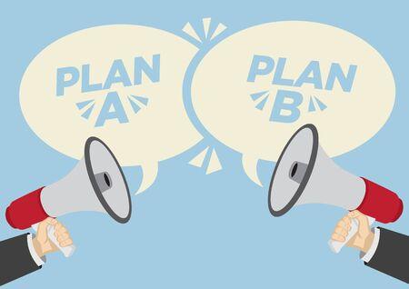 Diferentes opiniones de diferentes planes. Concepto de negocio de desacuerdo, negociación o falta de comunicación. Ilustración vectorial. Ilustración de vector